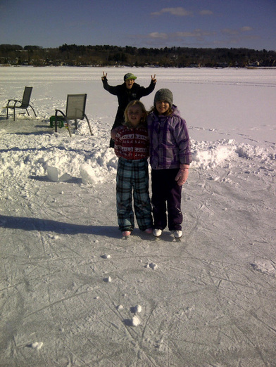 Skating and fishing at the Cottage Getaway on Georgian Bay Ontario