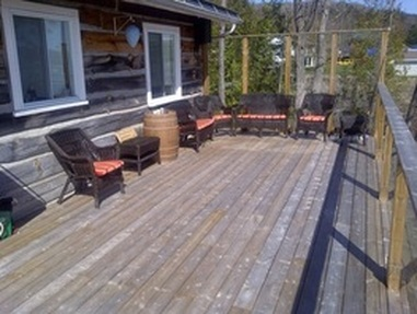 Relax on the huge deck at the Ontario Rental Cottage