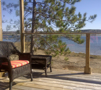 The best place to enjoy your coffee in the morning at the Ontario Cottage rental overlooking Georgian Bay